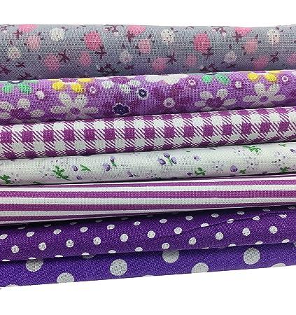 Misscrafts 7 cuadrados de tela XL de 50 x 50 cm de mezcla de algodón para Patchwork, manualidades, costura, álbumes de recortes, acolchado, artesanía, ...