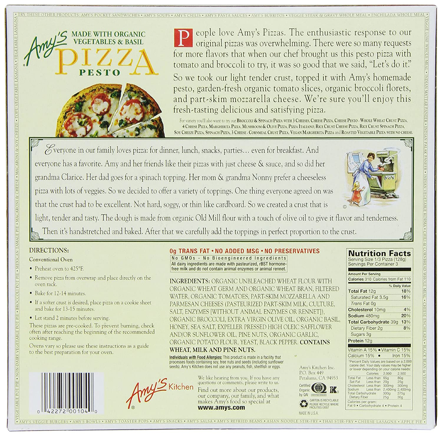 Amys Pizzas, Pesto Pizza, 13.5 Ounce (Frozen): Amazon.com: Grocery & Gourmet Food