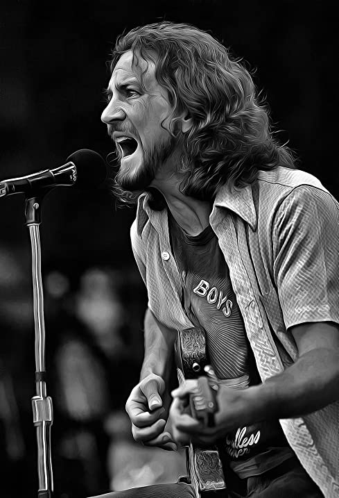 Eddie vedder poster 13x19 fine art canvas black and white print