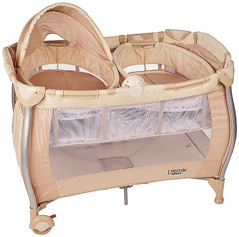 Infanti Cozy Twin Cuna De Viaje Para Gemelos Beige Amazoncommx Bebe - Cuna-para-gemelos