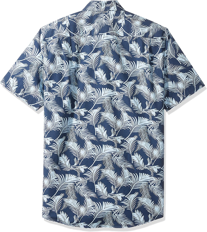 Essentials Mens Slim-fit Short-sleeve Print Shirt Short Sleeve Shirt