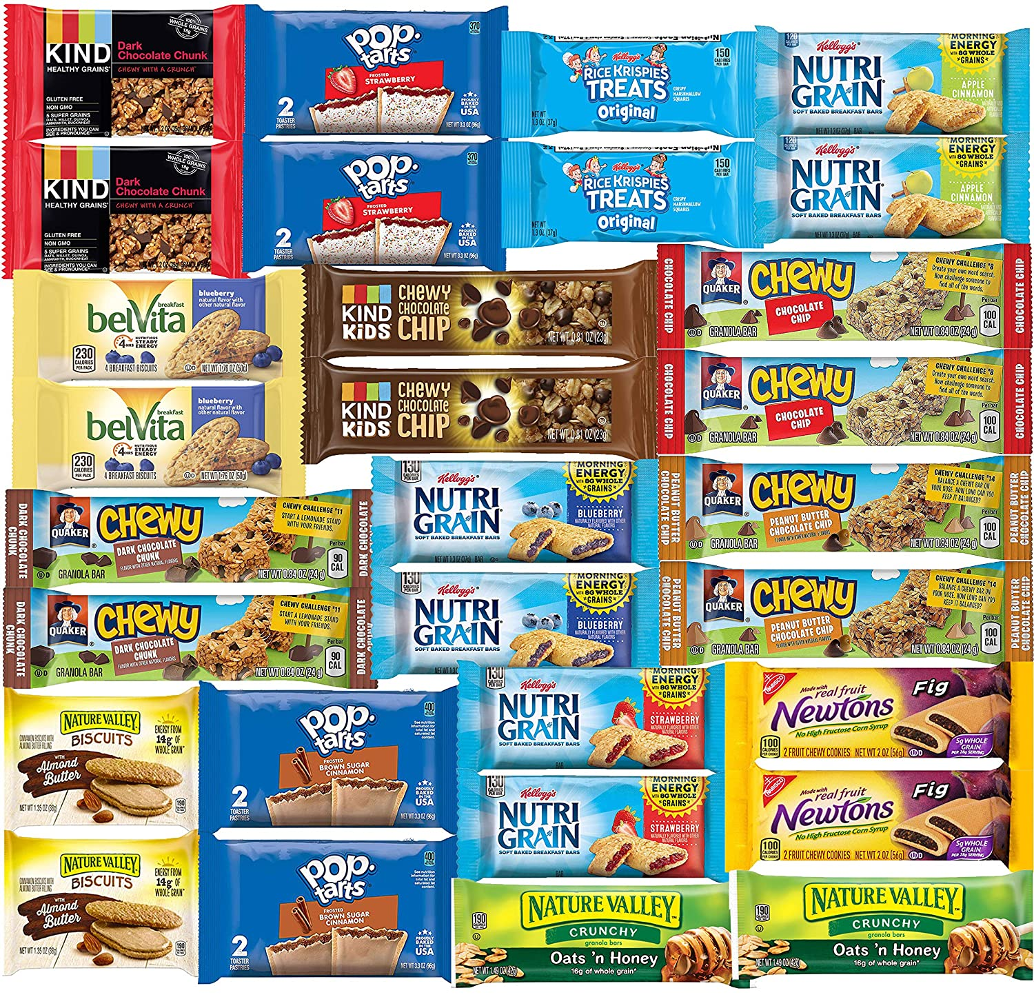 breakfast bars granola bars variety pack healthy snacks bulk kind bars care package 30 count amazon com grocery gourmet food amazon com
