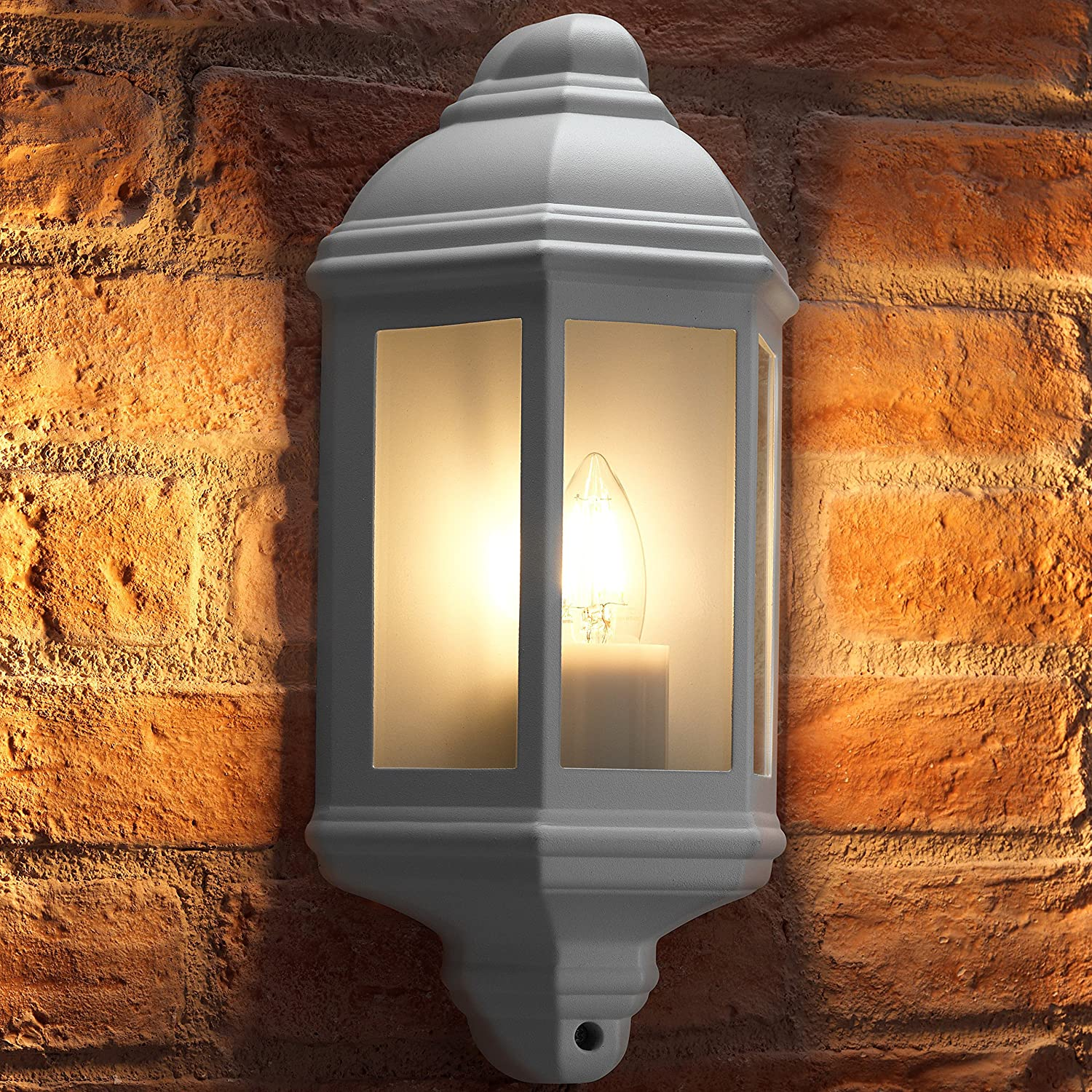Auraglow Outdoor Wall Lantern Retro Vintage Garden Light - Black - Warm White LED Filament Light Bulb Included [Energy Class A+]