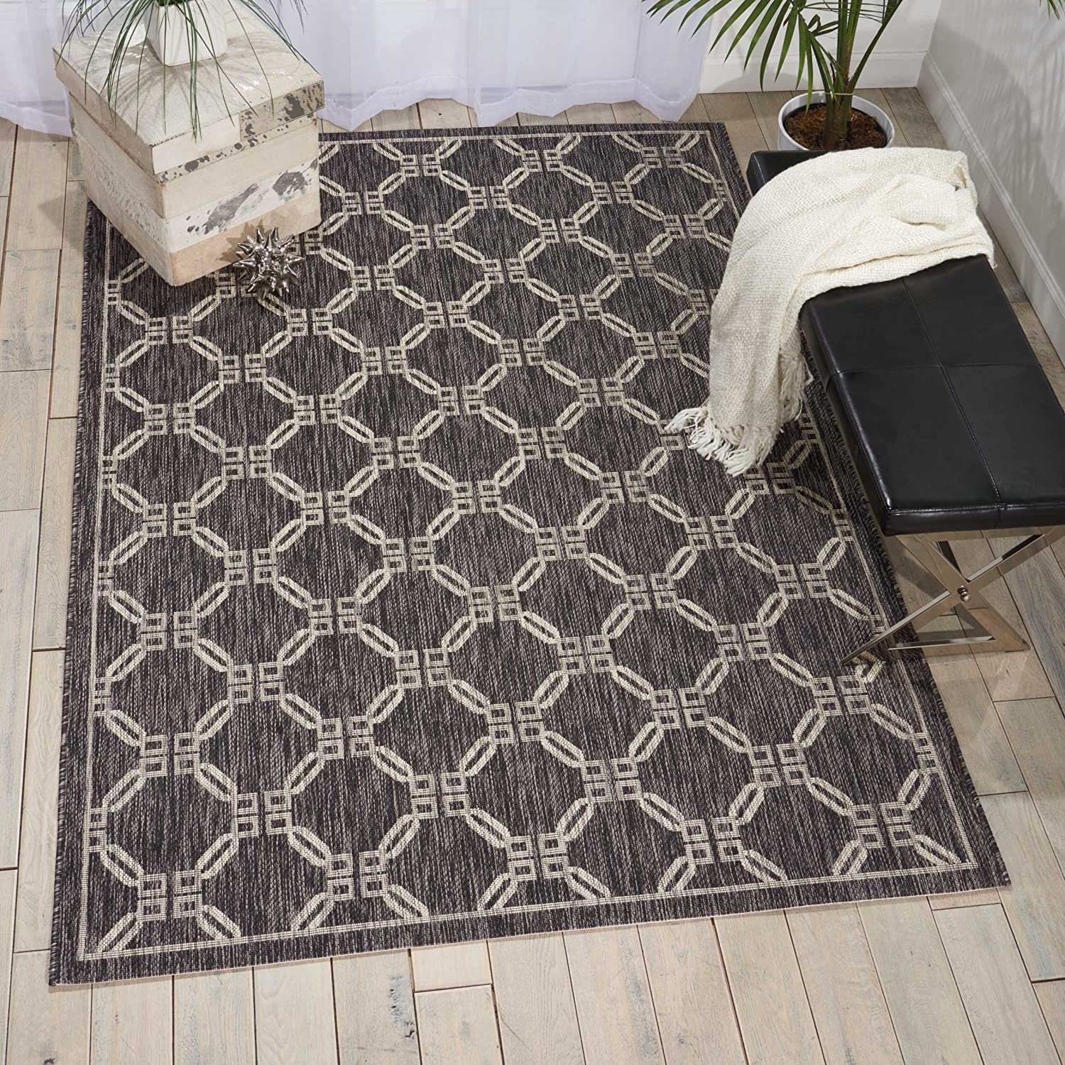 Nourison Garden Party Charcoal Indoor/Outdoor Area Rug 5 Feet 3 Inches by 7 Feet 3 Inches, 5'3
