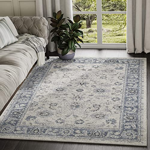 Troy Collection Ivory Blue Distressed Floral Print Area Rug