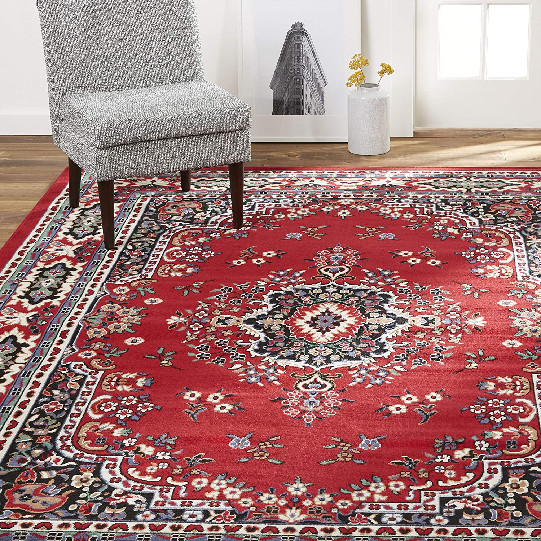 "Home Dynamix Premium Sakarya Traditional Rectangle Area Rug - Oriental Red (7'8"" x 10'7"")"