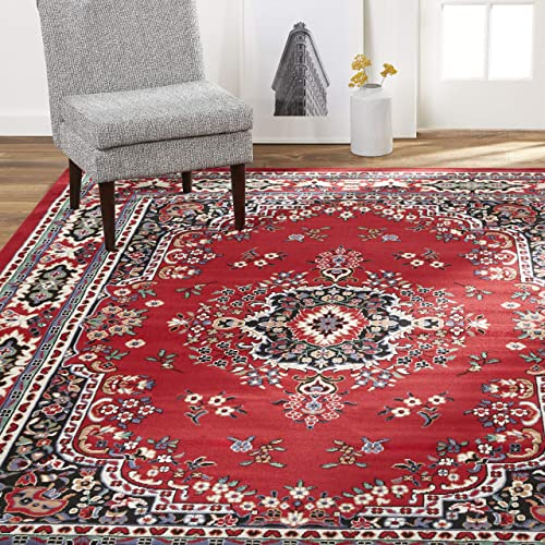 Home Dynamix Premium Sakarya Traditional Area Rug, Oriental Red 3 7 x5 2