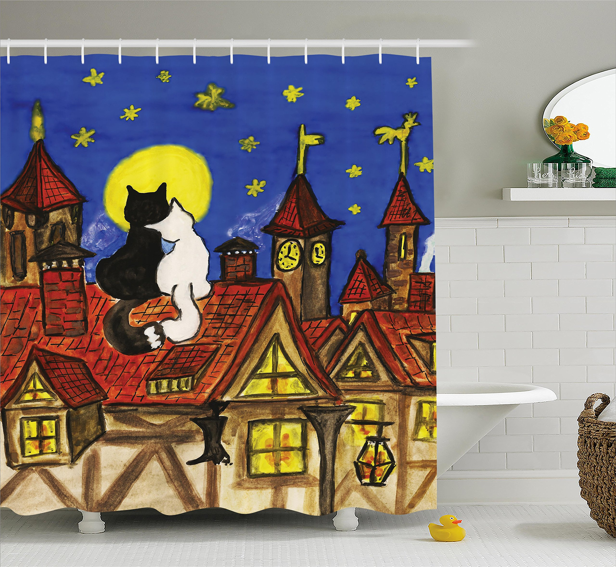 Ambesonne Cat Shower Curtain, Two Cats Sitting on Roof in Old Town and Looking at Starry Sky Night Funk Love Valentines, Fabric Bathroom Decor Set with Hooks, 84 Inches Extra Long, Multi