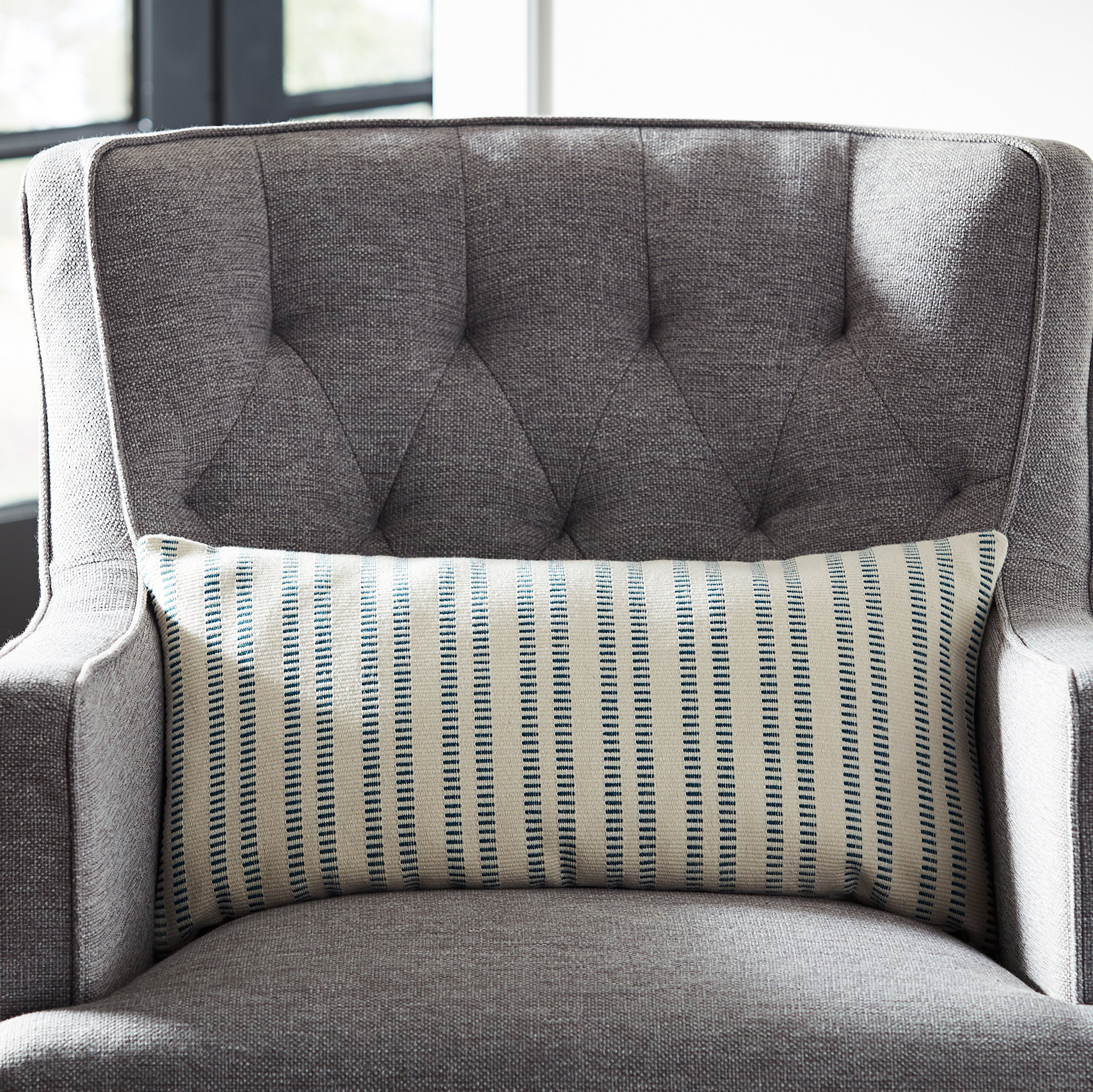 Stone & Beam French Laundry Stripe Pillow, 12'' x 24'', Ivory, Turquoise by Stone & Beam (Image #4)