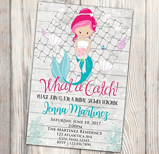 mermaid bridal shower invitation what a catch party couples shower invite ocean 4x6
