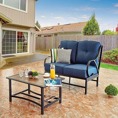 LOKATSE HOME 2 Pcs Outdoor Bistro Furniture Metal Conservation Set