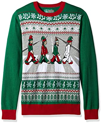 Ugly Christmas Sweater Men's Abbey Road Sweater, Emerald, M at ...