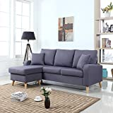 Divano Roma Furniture Mid Century Modern Linen Fabric Small Space Sectional Sofa with Reversible Chaise (Dark Grey)