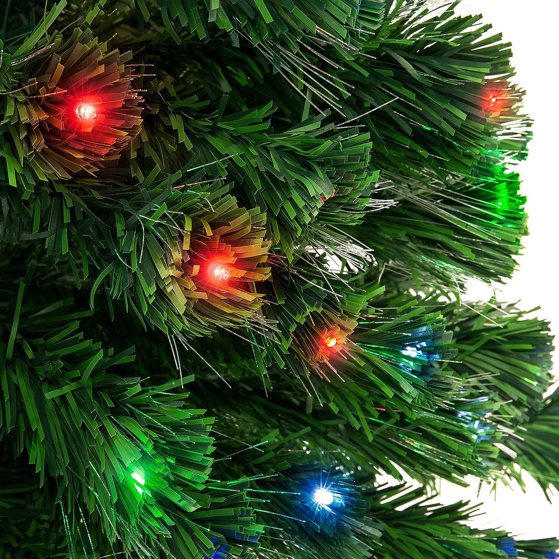 Christmas Tree Fiber Optic Lights: 7ft Pre-lit Fiber Optic Christmas Pine Tree, 4 Color LED
