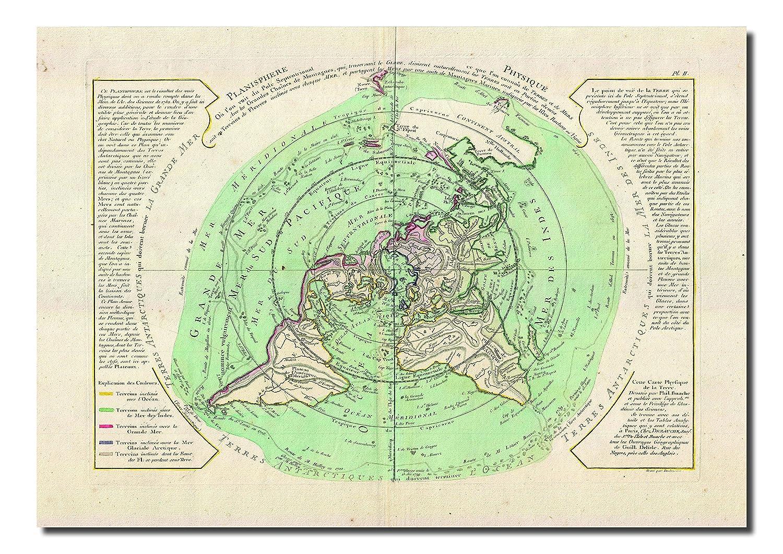 Flat Earth Map 1781 Buache De Neuville Map Of The World On Polar