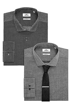 next Hombre Conjunto De Camisa A Cuadros Textura, Corbata Y ...