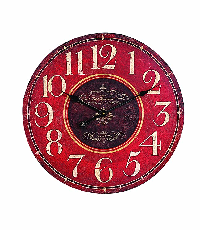 Horloge murale en bois Xcdiscount, Rouge: Amazon.ca: Home & Kitchen