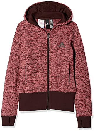 adidas Mädchen ID Warm Cover Up Kapuzen-Jacke, Trace Maroon Night Red  446b0f25cc