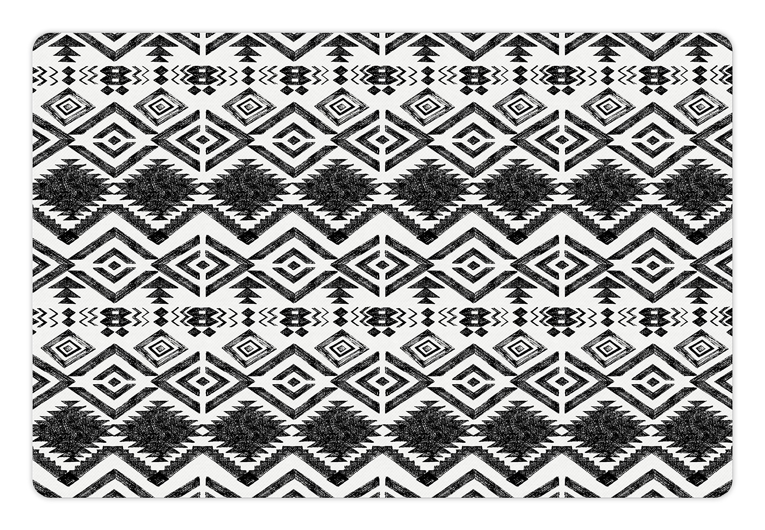 Lunarable Tribal Pet Mats for Food and Water by, Hand Drawn Style Tribal Pattern Geometric and Oranmental Aztec Design Print, Rectangle Non-Slip Rubber Mat for Dogs and Cats, Black and White