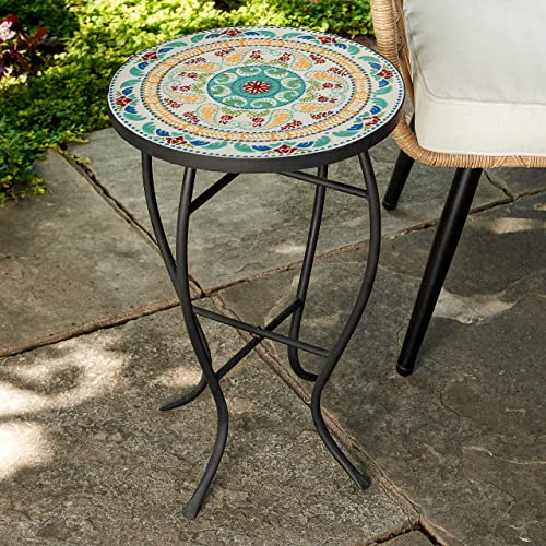 Quality Outdoor Living 29-KY02BL Accent Side Table, Blue