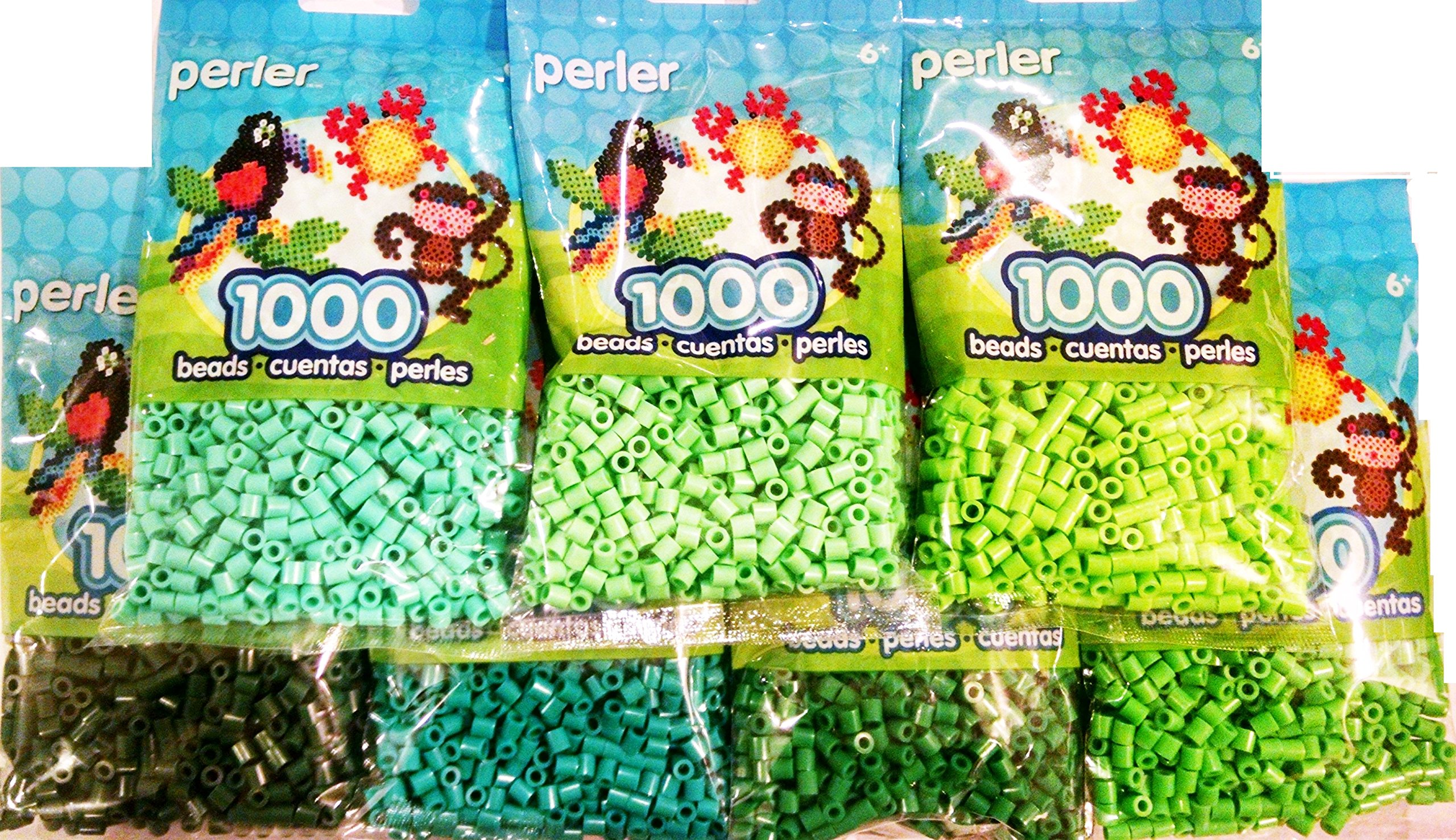 Perler Bead Bag, Green Group (Dark, Light, Pastel, Bright, Parrot Green, Evergreen, Kiwi Lime)