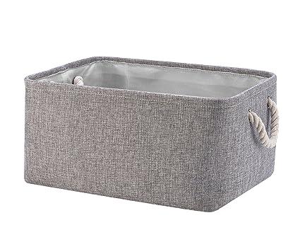 Perber Storage Baskets,Decorative Collapsible Rectangular Linen Fabric  Storage Bin,Underwear,Tie,