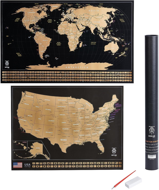 Amazon.com: Bono de Scratch Off Mapa del Mundo W/EE. UU ...