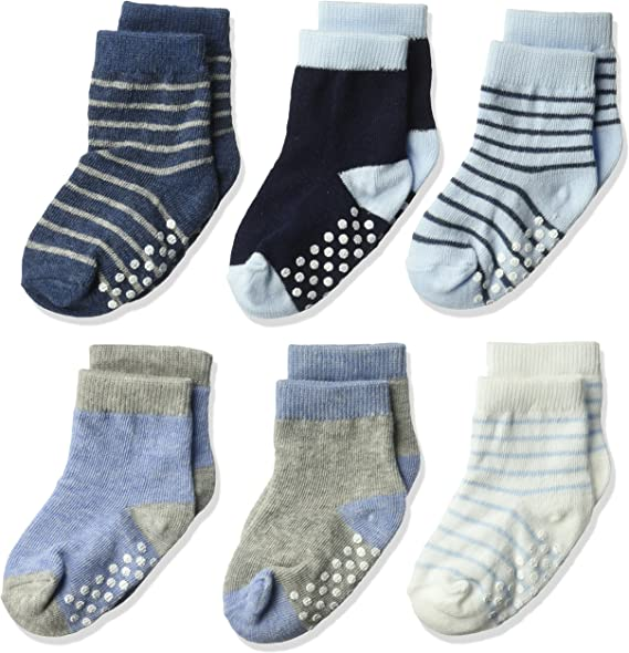 Boys Ribbed Crew Dress Socks 6 Pairs Pack Cotton Newborn Infant Toddler Kids