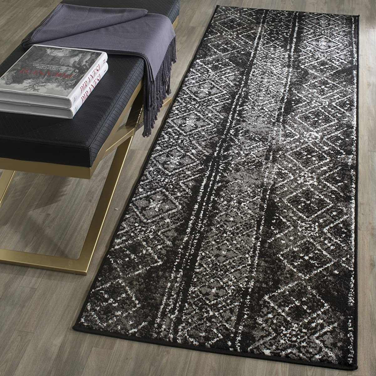 "Safavieh ADR111C-26 Adirondack Collection ADR111C Contemporary Bohemian Distressed Runner, 26"" x 6, Black/Silver"