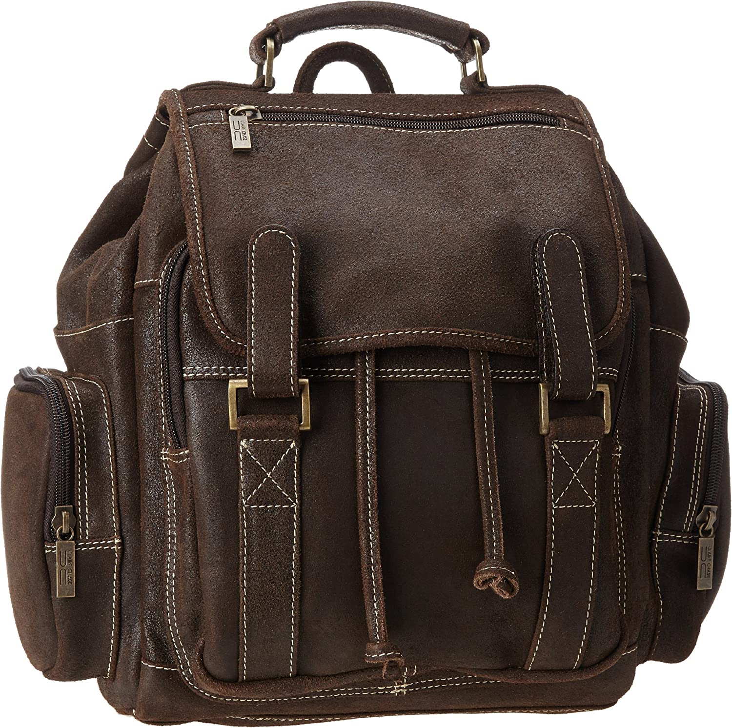 Claire Chase Laptop Leather Sierra Backpack Computer Bag in Saddle