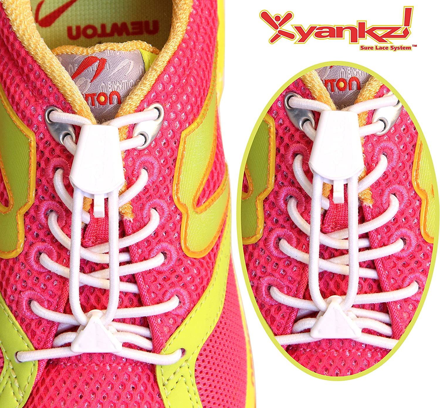 Yankz! SureLace No Tie Elastic Shoelace System with 2 Lock Adjustment, White Laces with White Locks - Locking Lace Replacement for Kids, Adults, and Senior Walking and Running Shoes: Clothing