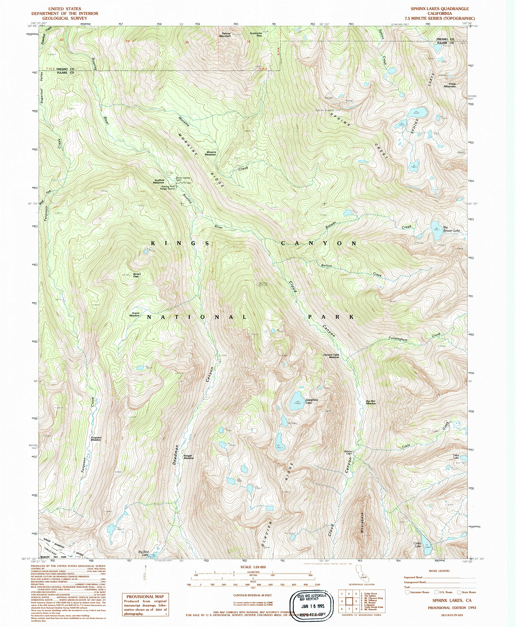 YellowMaps Sphinx Lakes CA topo map, 1:24000 Scale, 7.5 X 7.5 Minute, Historical, 1993, Updated 1995, 26.7 x 22 in - Polypropylene by YellowMaps