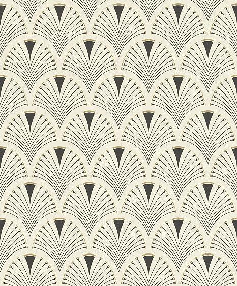 Modern Art Art Deco Fan Wallpaper Blackgold Rasch 433210 Amazoncom