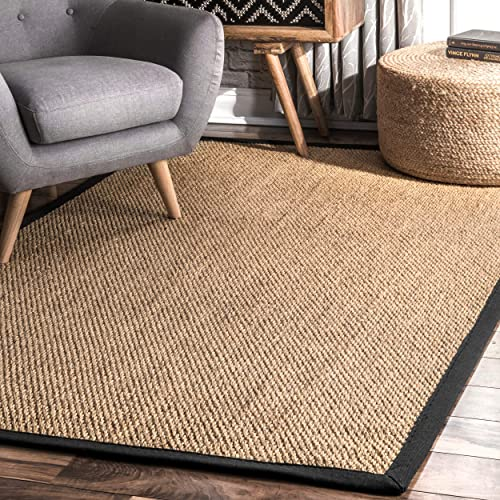nuLOOM Cindy Natural Sisal Jute Rug, 9 x 12 , Black