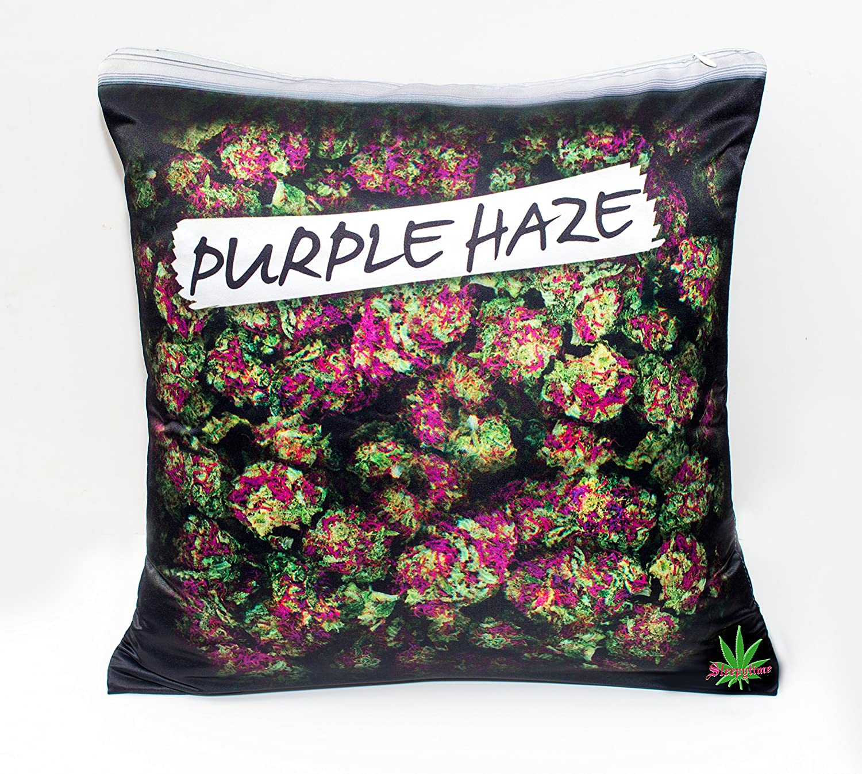 Purple Haze mi Kush impreso 18x18-inch funda de almohada cojín Weed funda de almohada de Cannabis Hoja de Marihuana DOPE diseño de manta almohada