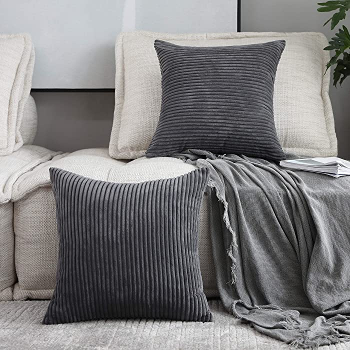 Home Brilliant 2 Pack Winter Decoration Super Soft Striped Corduroy Decorative Euro Throw Pillow Sham Cushion Cover for Couch, 26x26 inch(66cm), Dark Grey