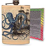 Vintage Kraken Pirate Ship Flask 8oz Stainless Steel Metal Hip Flasks Spirits Alcohol Whiskey Octopus Newsprint Pirates Gift Box