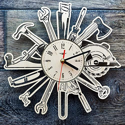 Tools arpenter Silent Wood Wall Clock