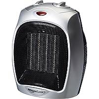 Calentador de espacios de cerámica AmazonBasics de 1500 vatios con termostato ajustable - Plata