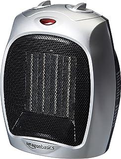 AmazonBasics 1500 Watt Ceramic Space Heater With Adjustable Thermostat    Silver