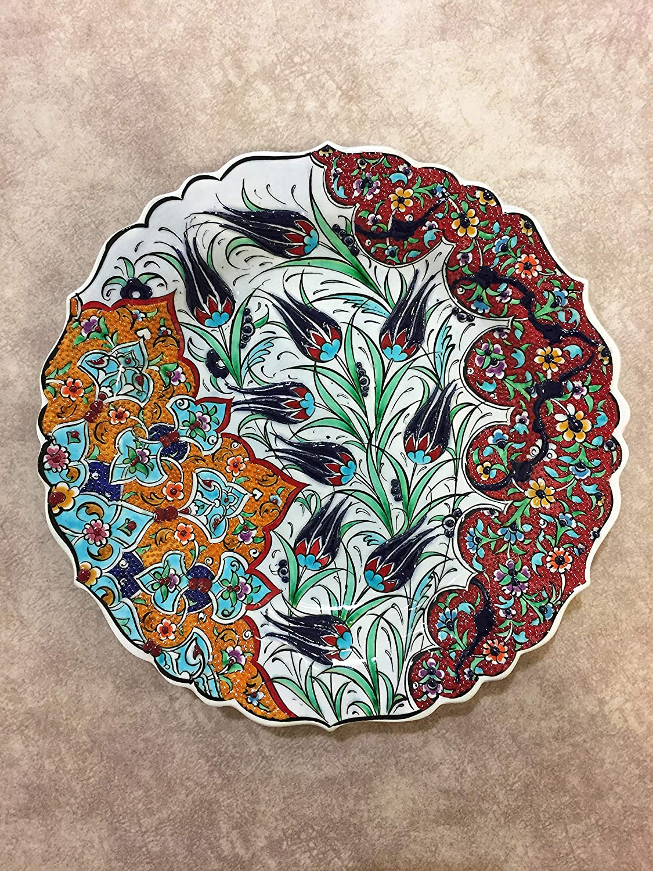 IstanbulArtWorkshop 12 Decorative Ceramic Plate Hand Painted Decorative Wall Plate,Turkish Ceramic Plate,Decorative Embossed Hanging Plate