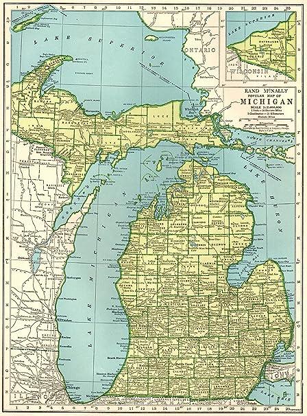 Amazon Com 1943 Antique Michigan Map Original Vintage Map Of