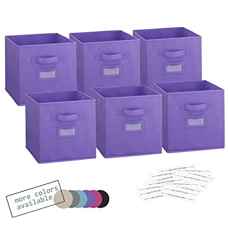 Royexe Set Of 6 Foldable Fabric Storage Cube Bins | Collapsible Cloth  Organizer Baskets Containers |