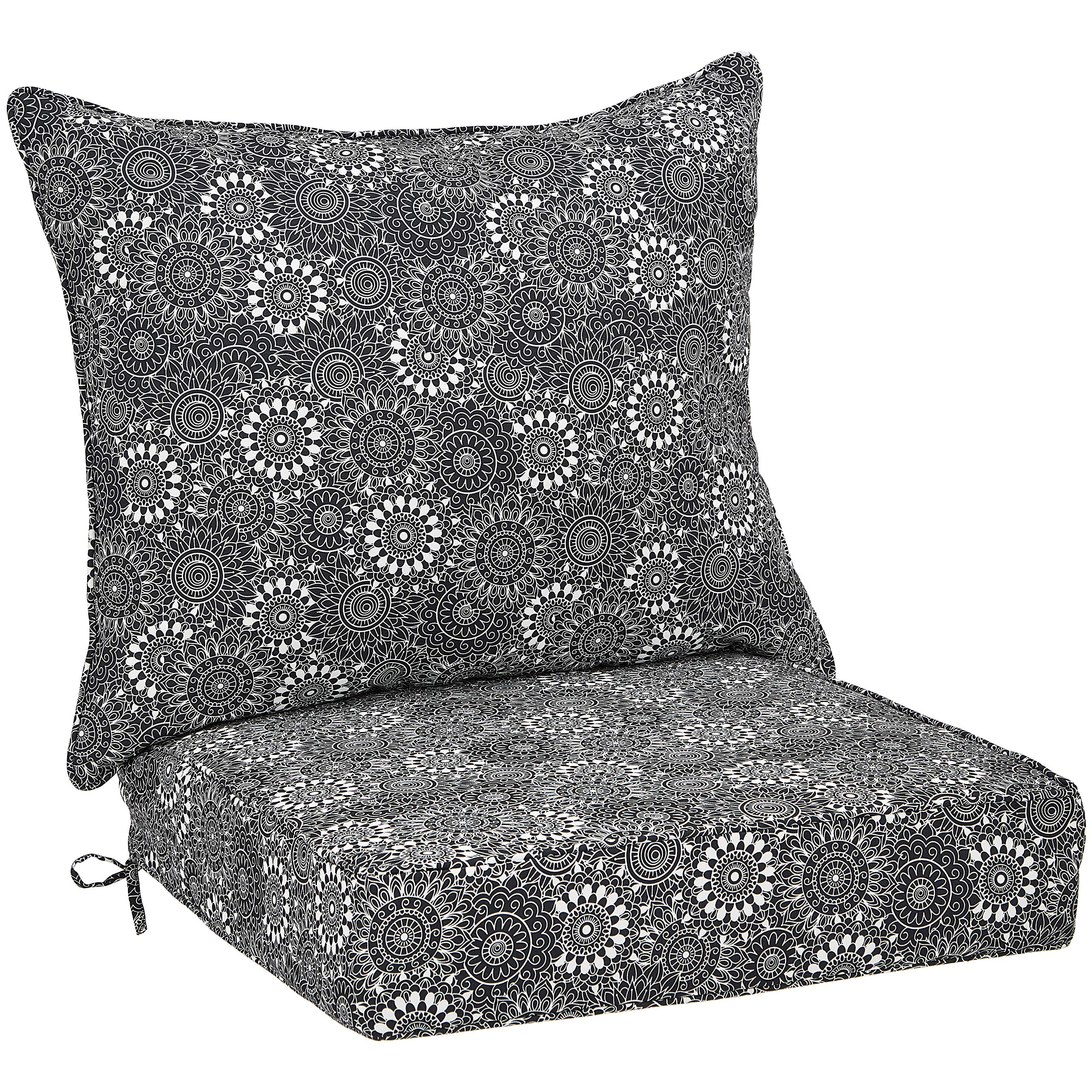 AmazonBasics Deep Seat Patio Seat and Back Cushion- Black Floral by AmazonBasics