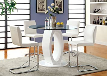 Amazoncom Furniture Of America Quezon 5 Piece Round Glass Top