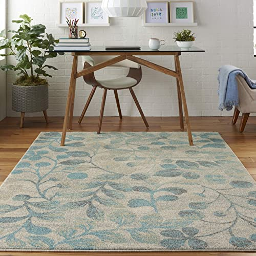Nourison TRA03 Tranquil Contemporary Botanical Ivory Turquoise Area Rug 4 X 6