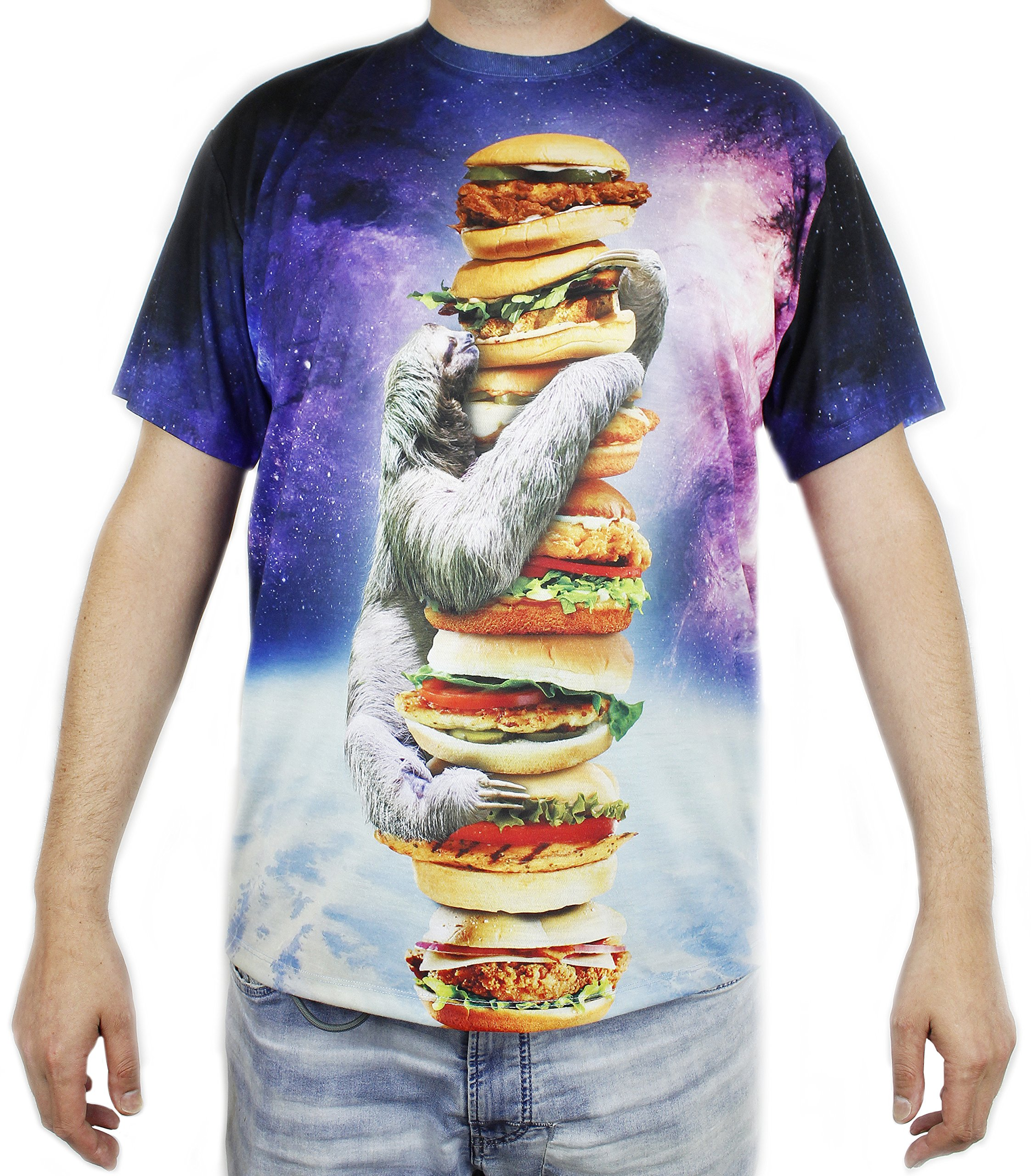 Sloth Galaxy Chicken Sandwich Tower T-Shirt - Adult Size Small