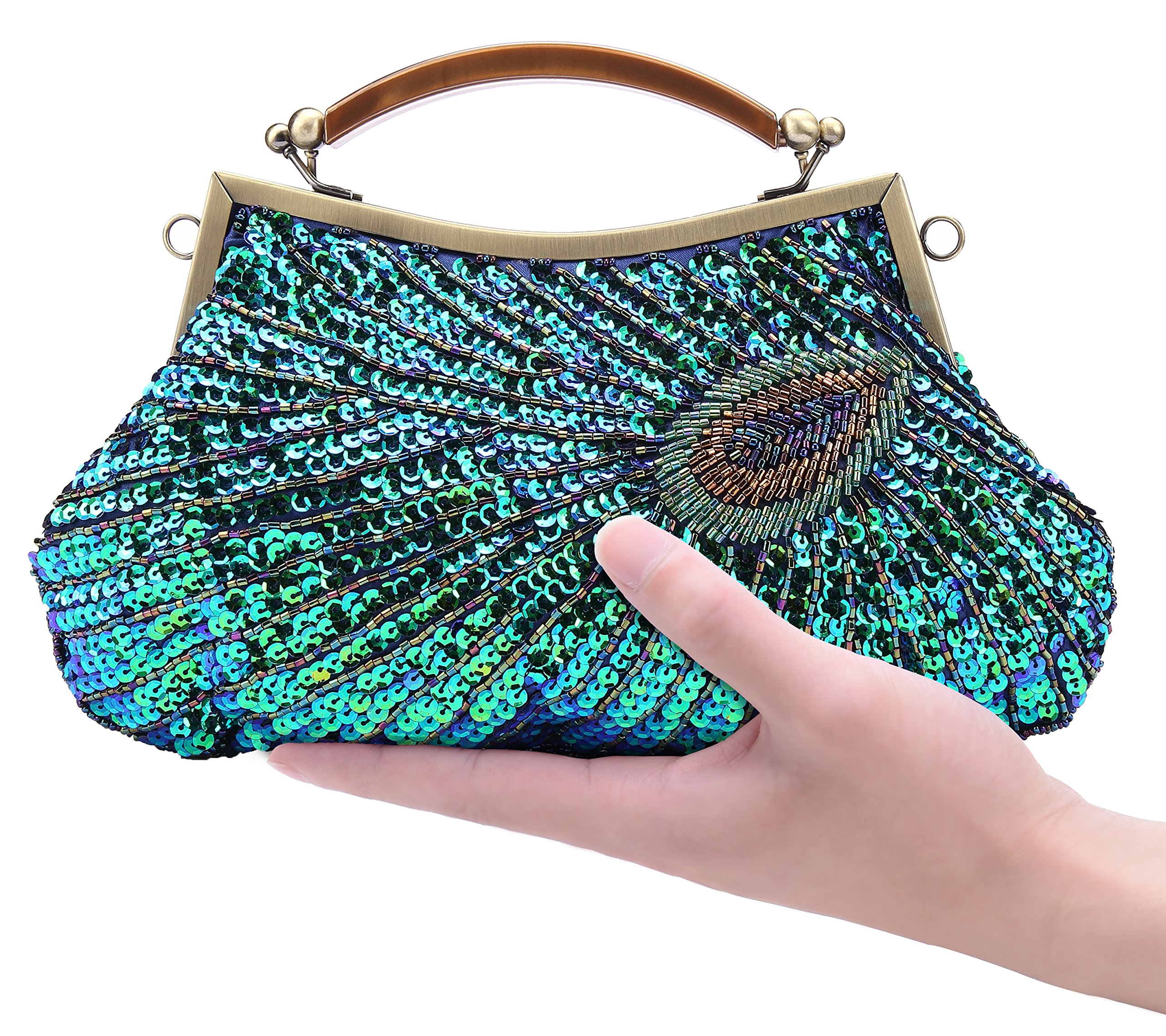 Pulama Woman Handbag Beaded Clutch PEACOCK SEQUINS Purse/Wallet/Evening Bag, Handmade for Wedding Party (Classic)