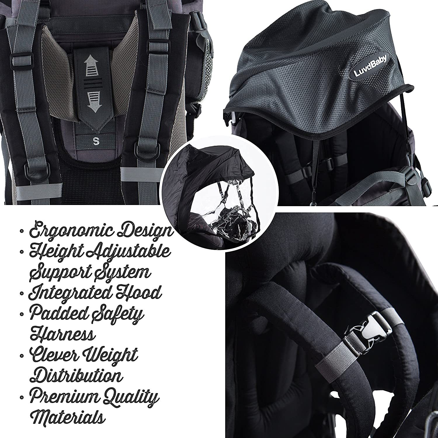 057a820469d Amazon.com  Luvdbaby Premium Baby Backpack Carrier for Hiking with Kids –  Carry Your Child Ergonomically (Black Grey)  Sports   Outdoors