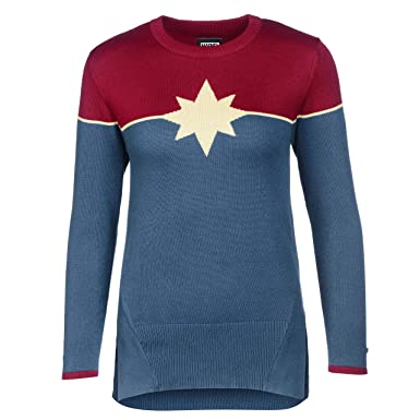 b05a470a Musterbrand Marvel Women Crewneck Captain Marvel Burgundy/Blue XS